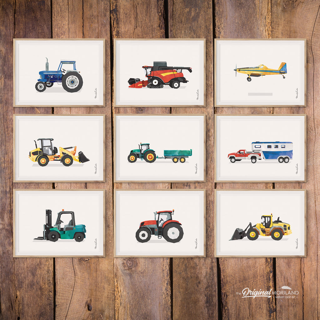 Watercolor Transportation Art Prints for Toddler and Big Boy Room Decor by MORILAND