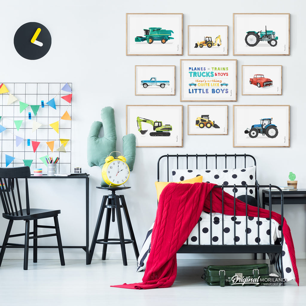 Farm Vehicles Decor, Tractor Wall Art, Preschool, Boy Bedroom Art, Digger Printable, Tractor Nursery, Tractor Birthday, Farmhouse Room Decor, Skid Steer, Pickup Truck, Backhoe, Planes Trains Trucks and Toys Print, Little Boys, MORILAND Wall Art