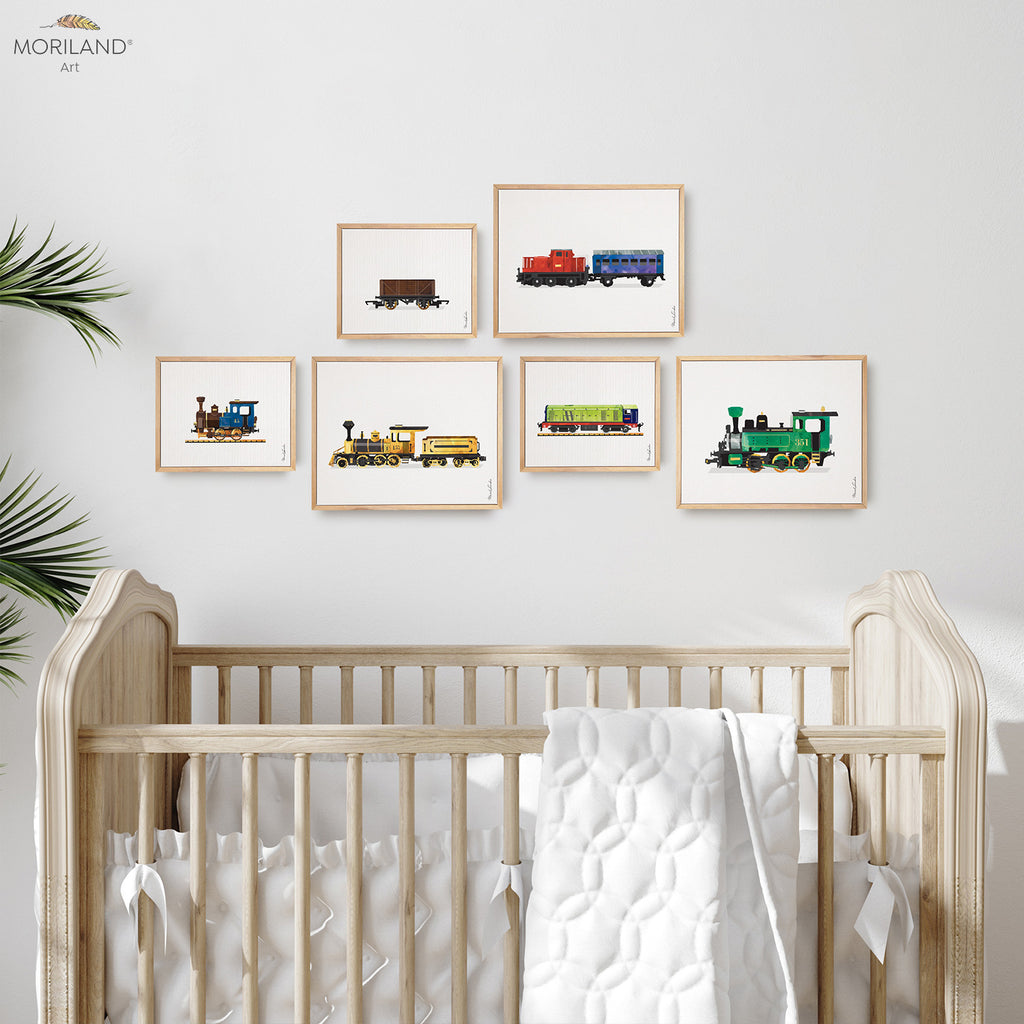 trains locomotives watercolor wall art framed canvas set for kids room decor by MORILAND