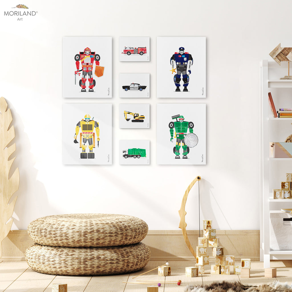 robots and vehicles art for boy room decor by MORILAND