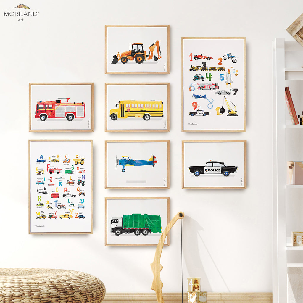 transportation alphabet numbers and vehicles, fire truck, digger, school bus, plane, garbage truck, police car wall art