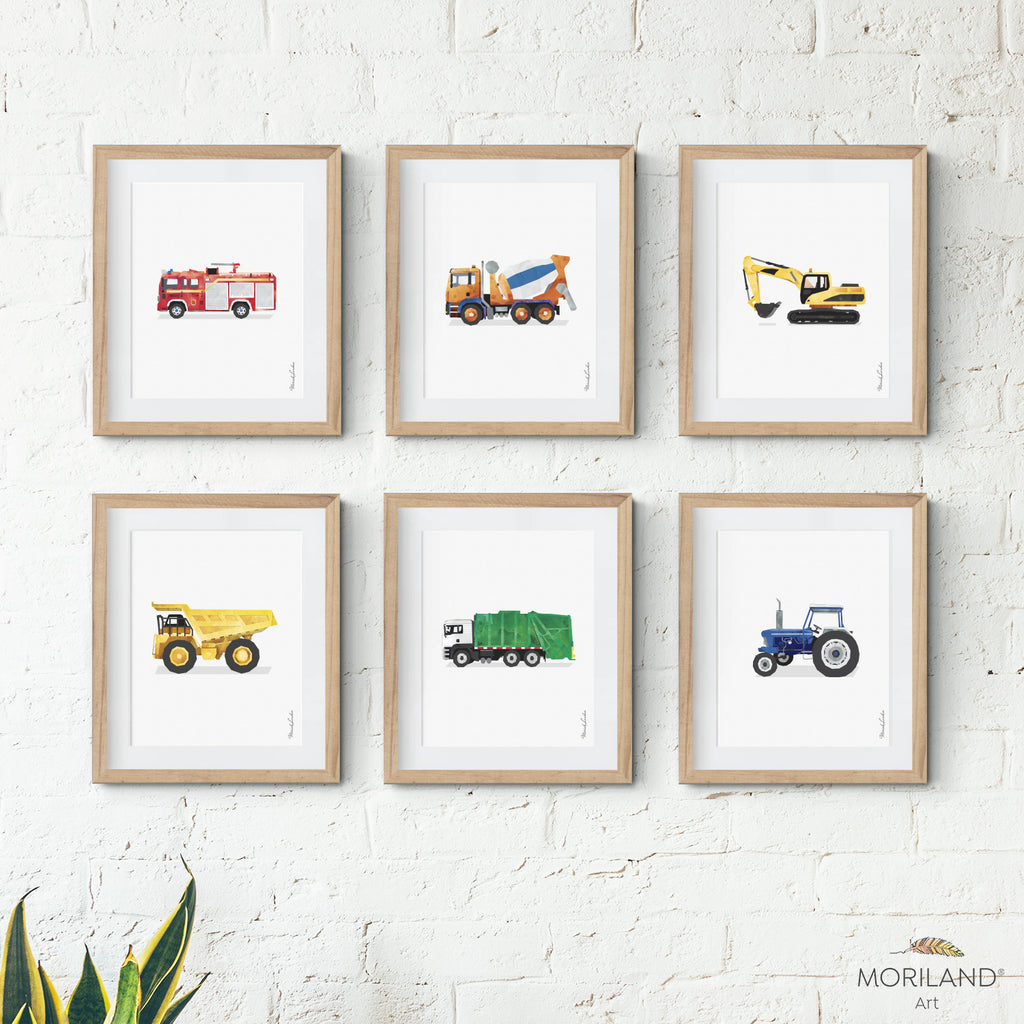 Beautiful watercolor vehicle Printable prints for boy bedroom decor by MORILAND