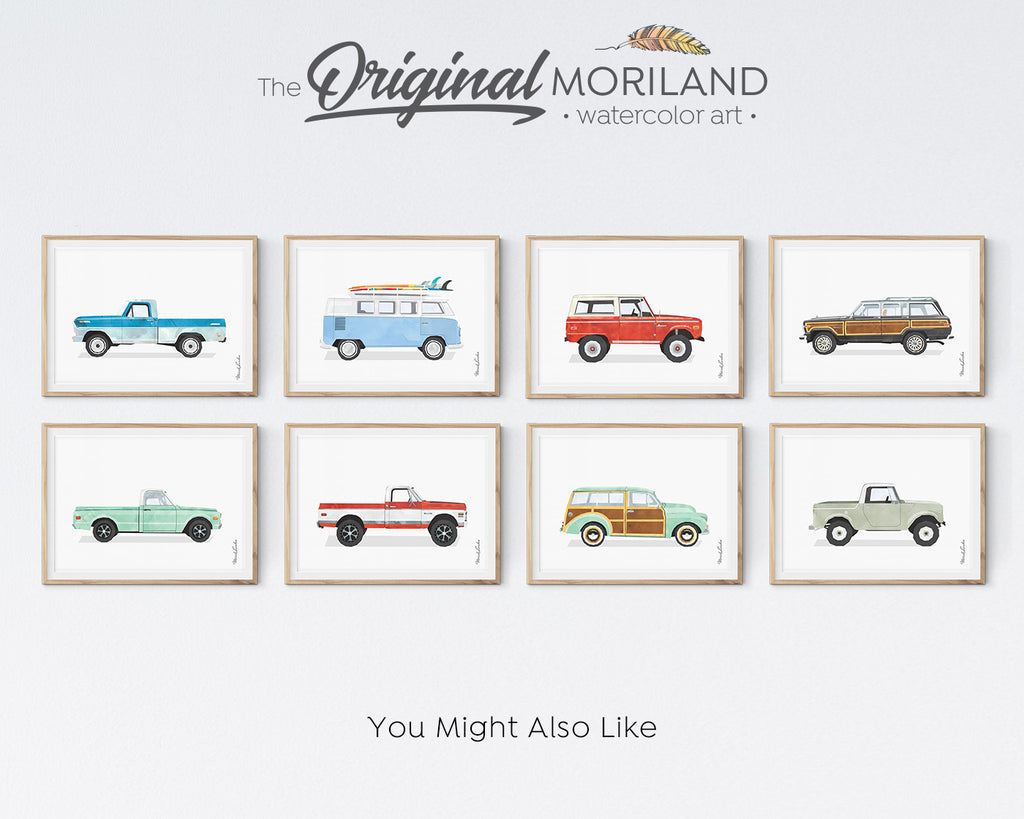 Red & White Pickup Truck Print - Printable Art