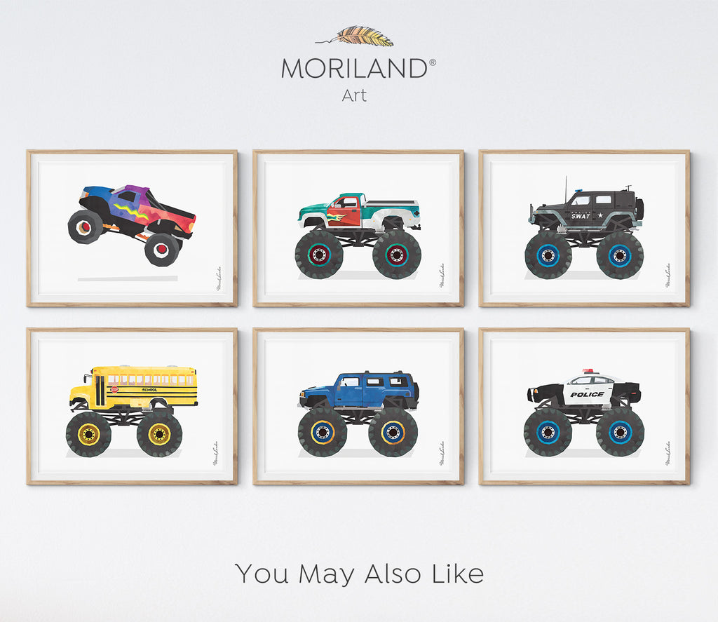 monster trucks art for boy room decor