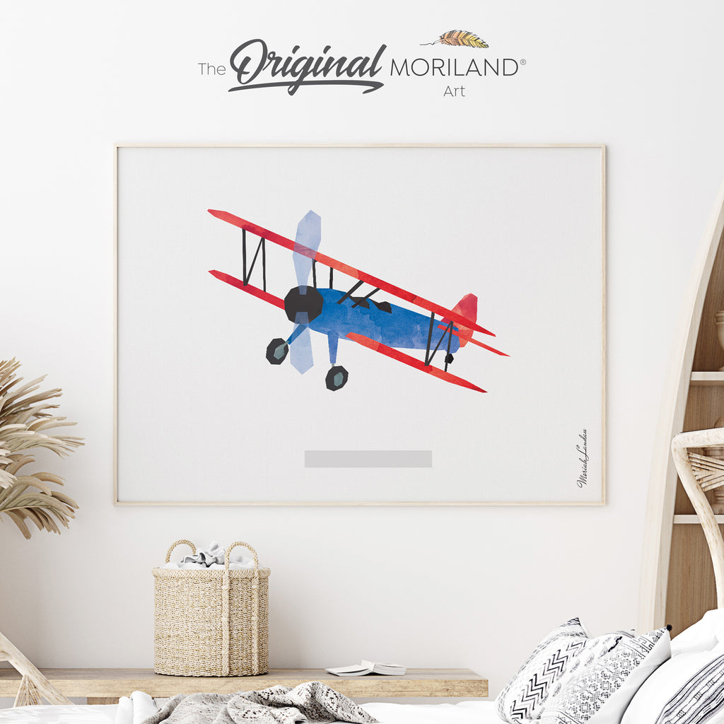 Biplane airplane Fine Art Print for Boy Room Decor