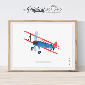 Stearman Aircraft Print, Airplane Print, Biplane, Plane Nursery Wall Art, Transportation Decor, Kids Room Plane Art, Blue Nursery, Printable