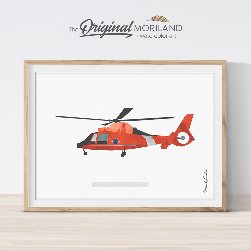Helicopter Print, Coast Guard Aircraft Print, Playroom Art, Big Boys Wall Art, Toddler Boy Room Decor, Printable Wall Art, Helicopter Decor