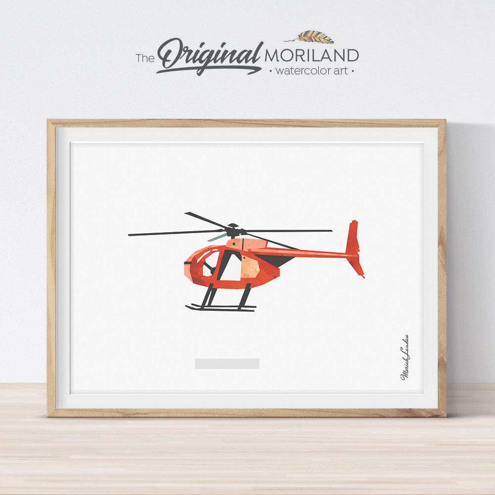 Helicopter Decor, Vintage Helicopter Art for boy bedroom