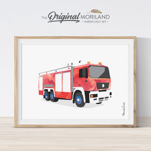 fire truck wall art print for boy room decor