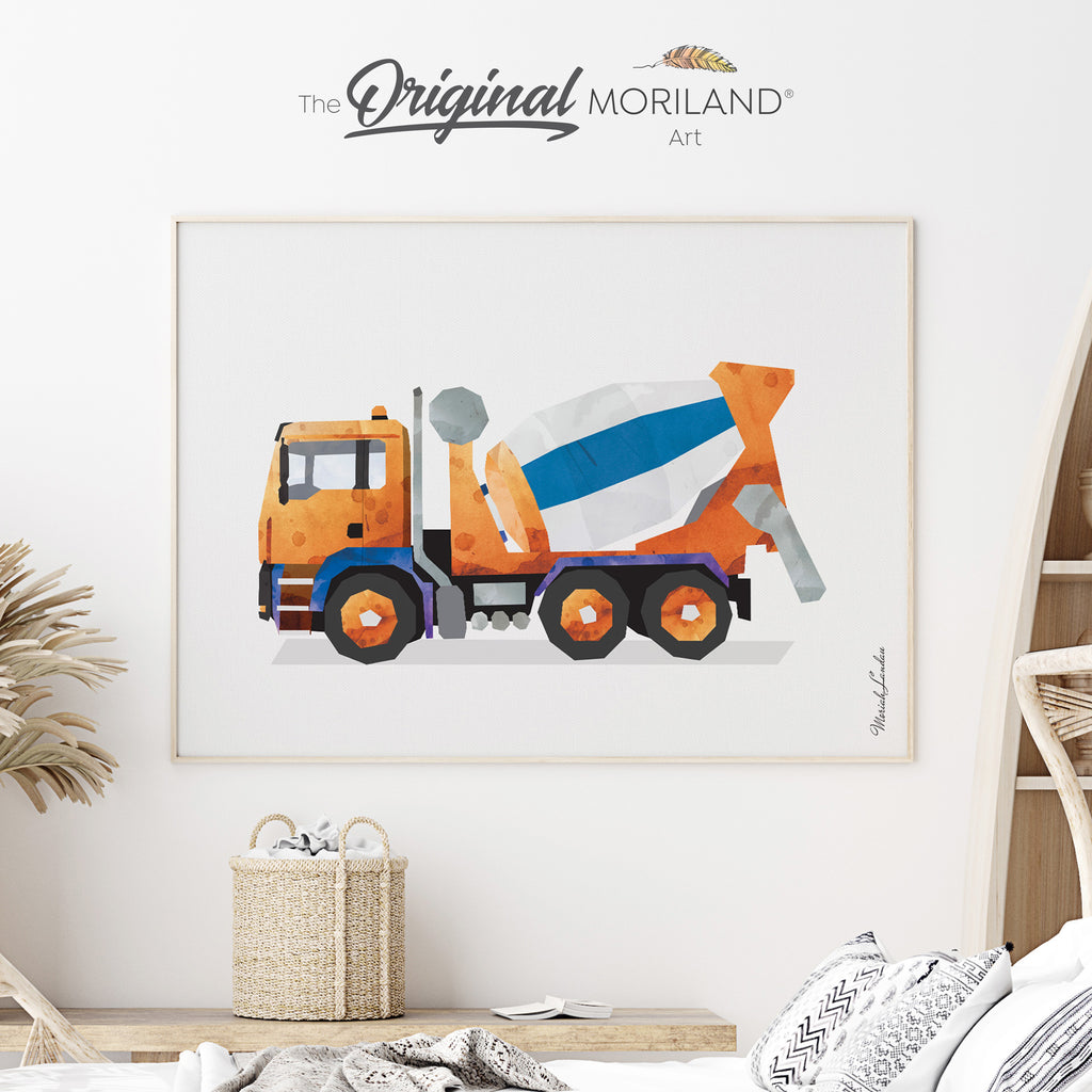 Cement Mixer Fine Art Print for Boy Room Decor