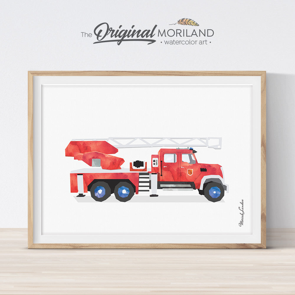 Fire Engine wall art print poster for big boy room decor