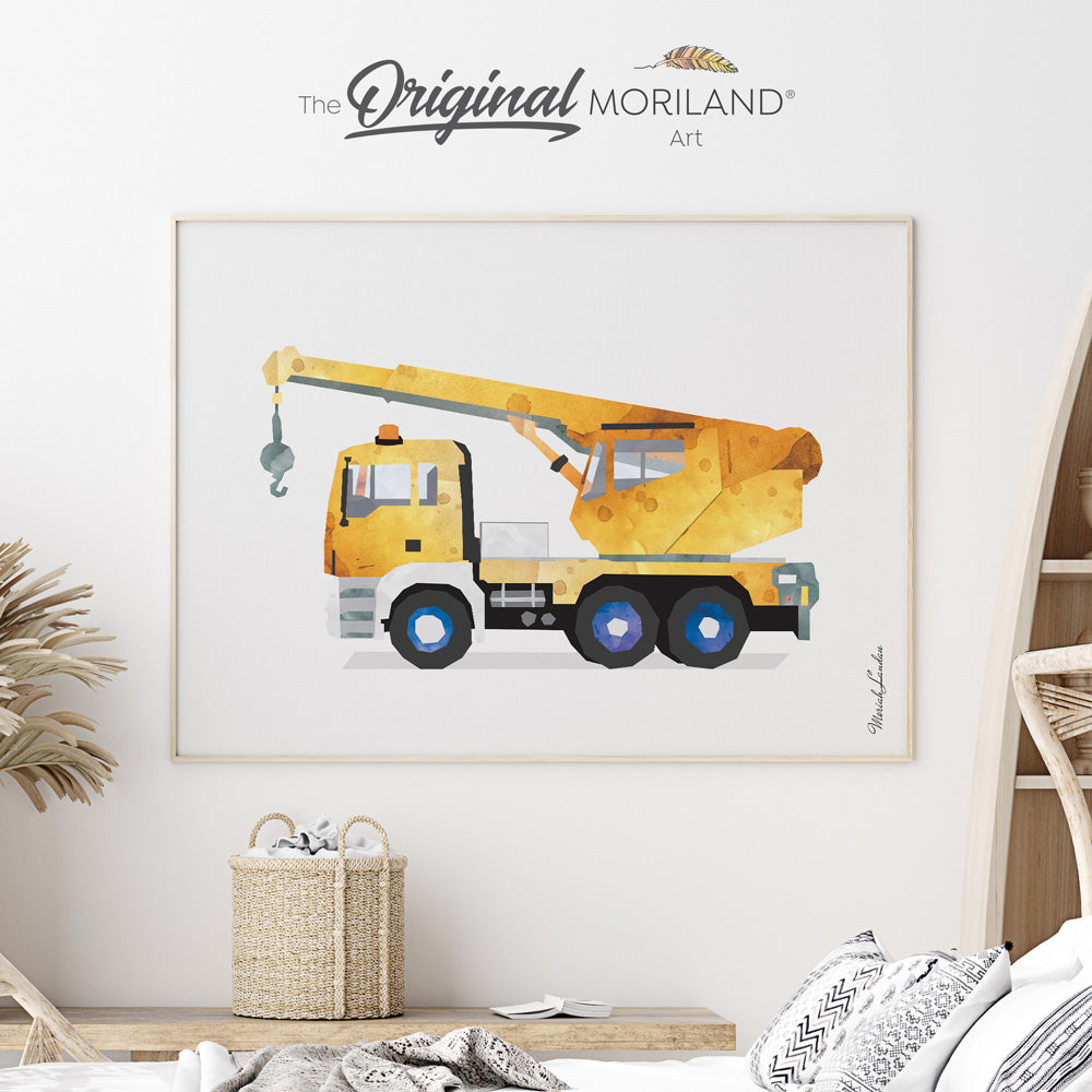 crane truck wall art print for boy bedroom decor by MORILAND
