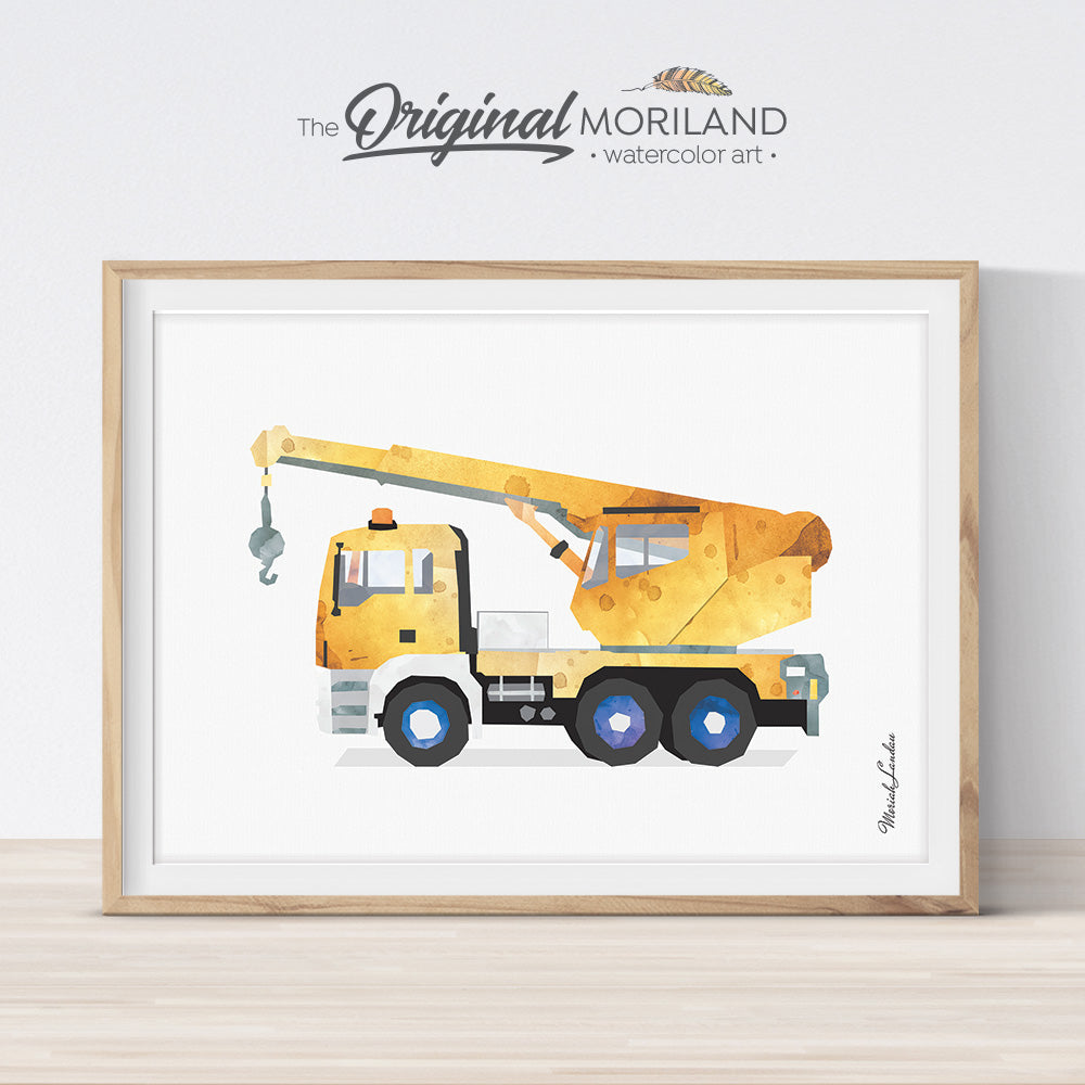 Yellow Crane Wall Art for Boy Bedroom Decor, Construction