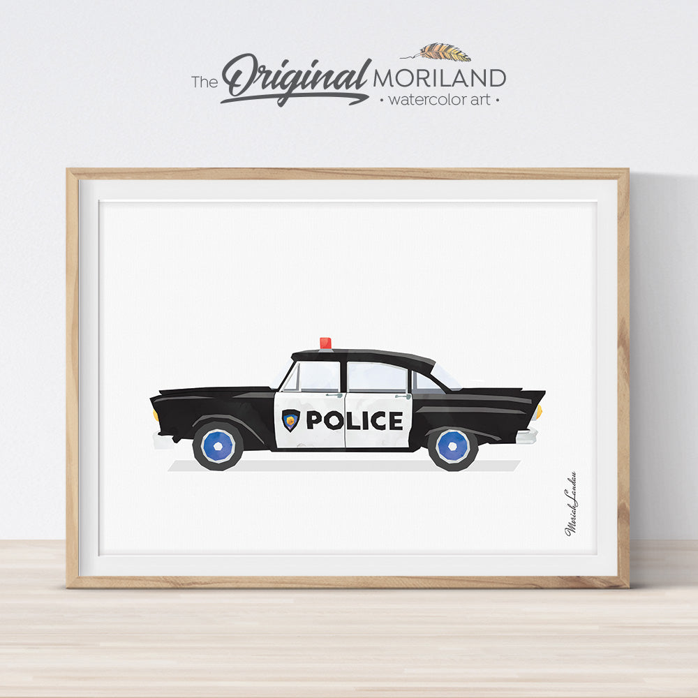 Vintage Police Car Wall Art Print for Toddler and Big Boy Bedroom Decor