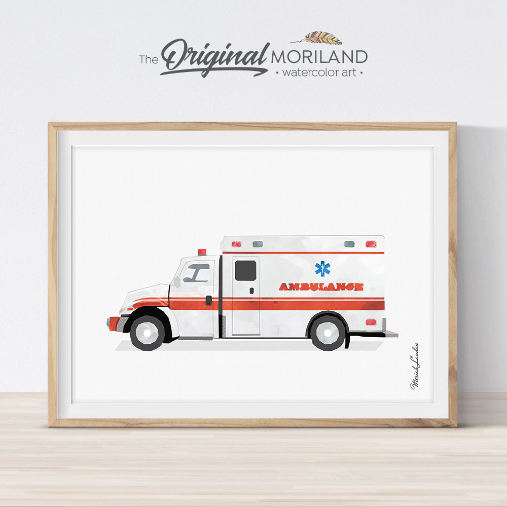 Watercolor Ambulance Wall Art Print for Boy Bedroom Decor