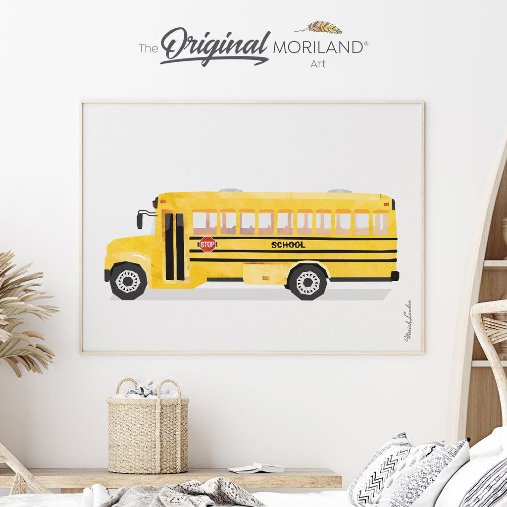 School bus Fine Art Print for Boy Room Decor