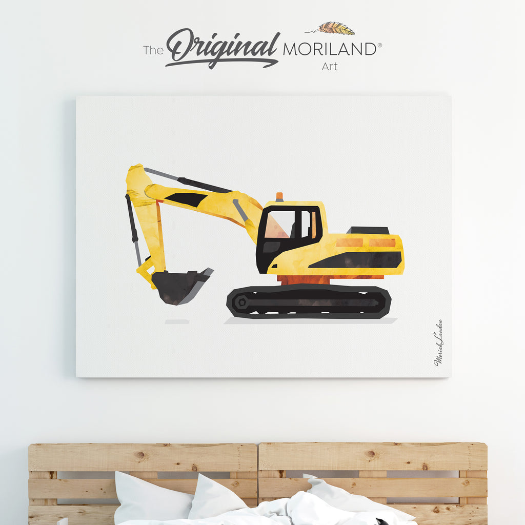 Digger Excavator Canvas Print for Boy Room Decor