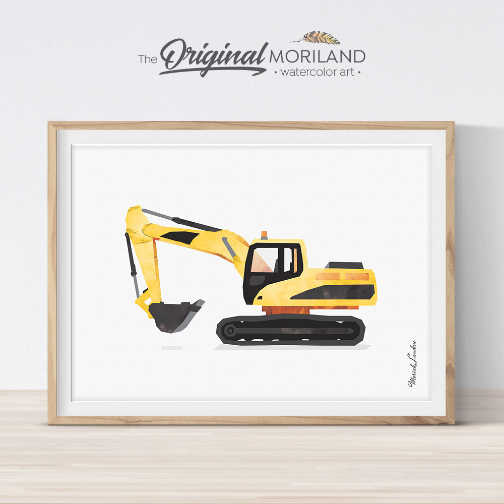 Excavator Print, Excavator Construction Vehicle, Birthday Decor, Toddler Room Decor, Big Boy Print, Printable Art Truck,Transportation Decor