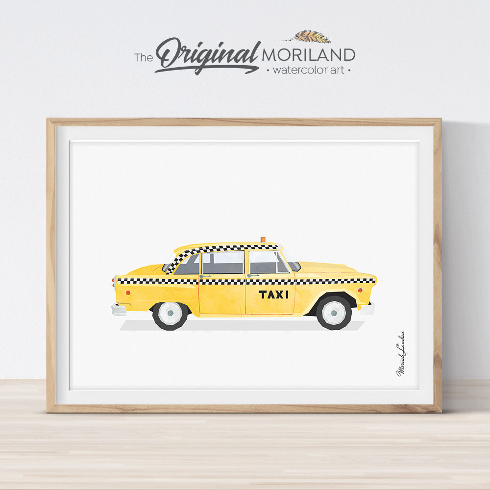 Vintage Yellow NYC Taxi Cab Printable Wall Art Poster