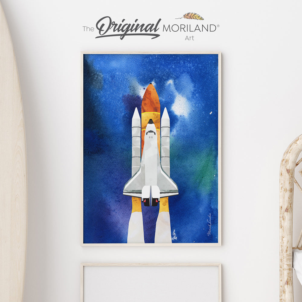 Space Shuttle Outer Space Fine Art Paper Print by MORILAND