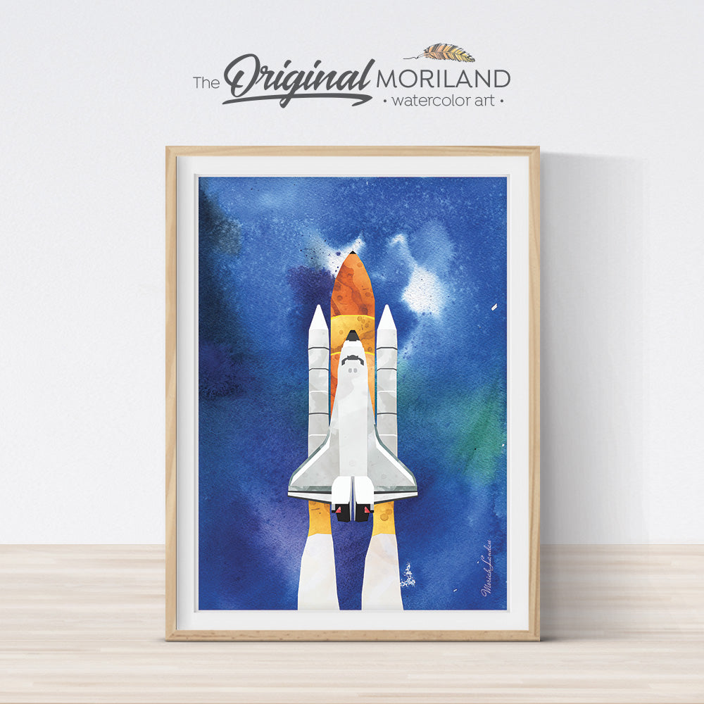 Watercolor Space Shuttle Printable Wall Art for Boys Room Decor