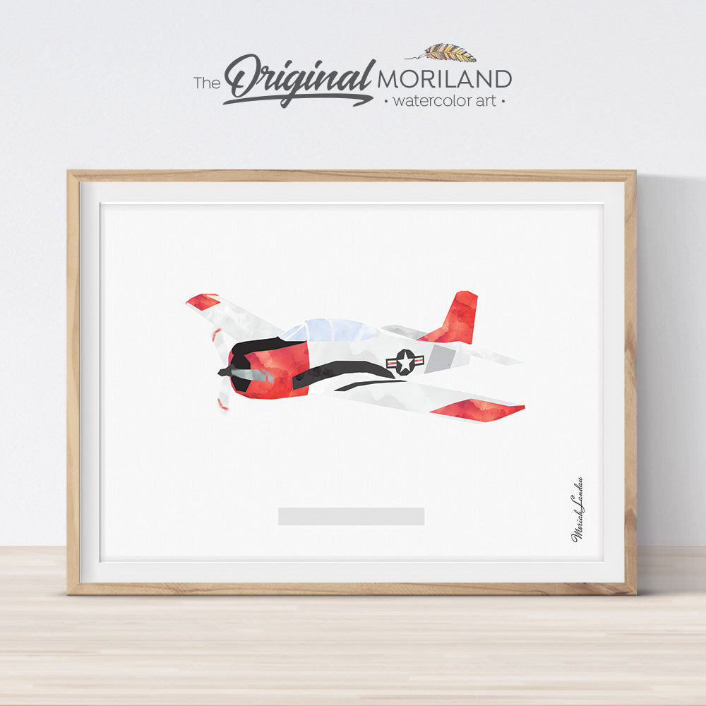 Military Aircraft watercolor Art for Boy Room Decor by MORILAND