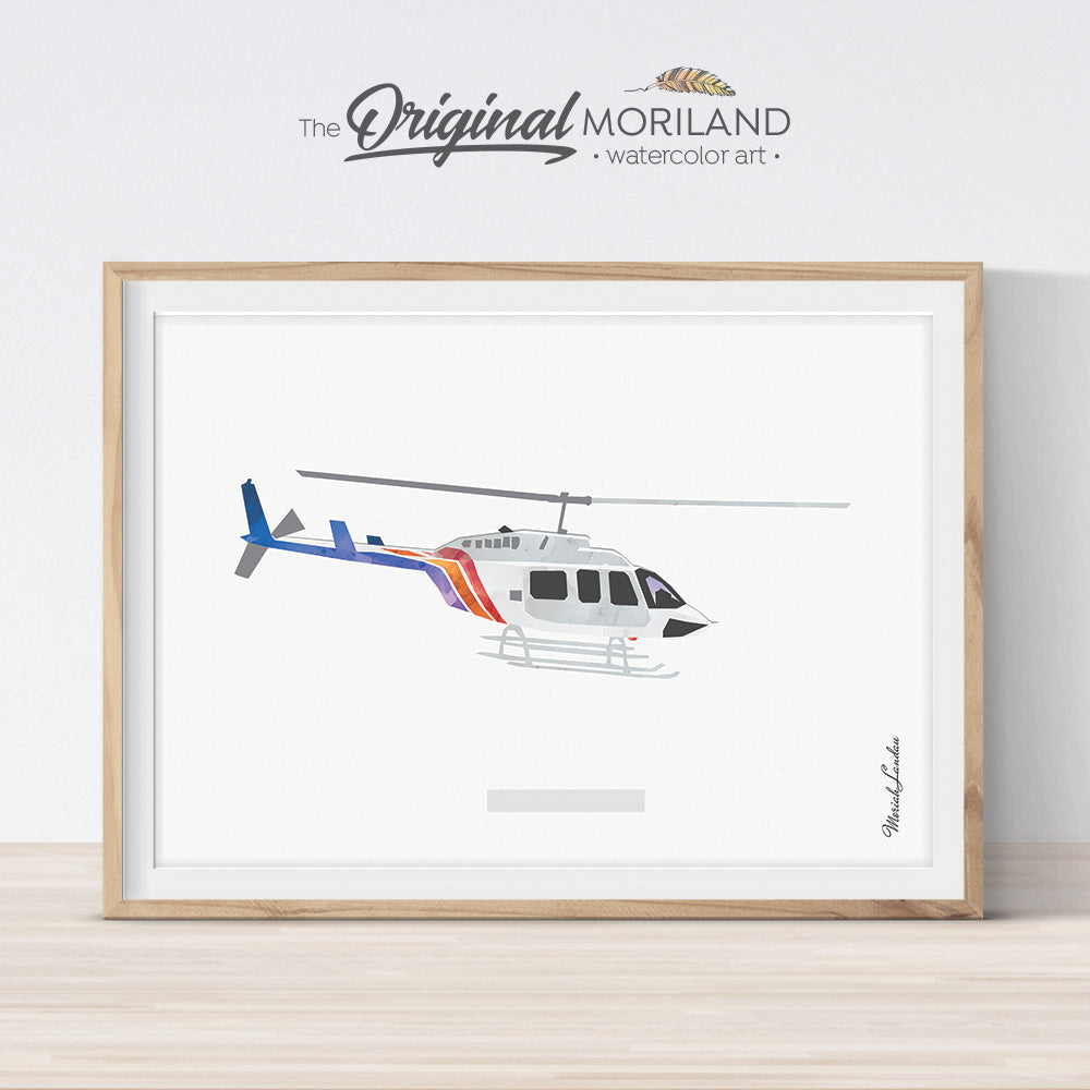 Bell helicopter wall art print for kids room and nursery decor