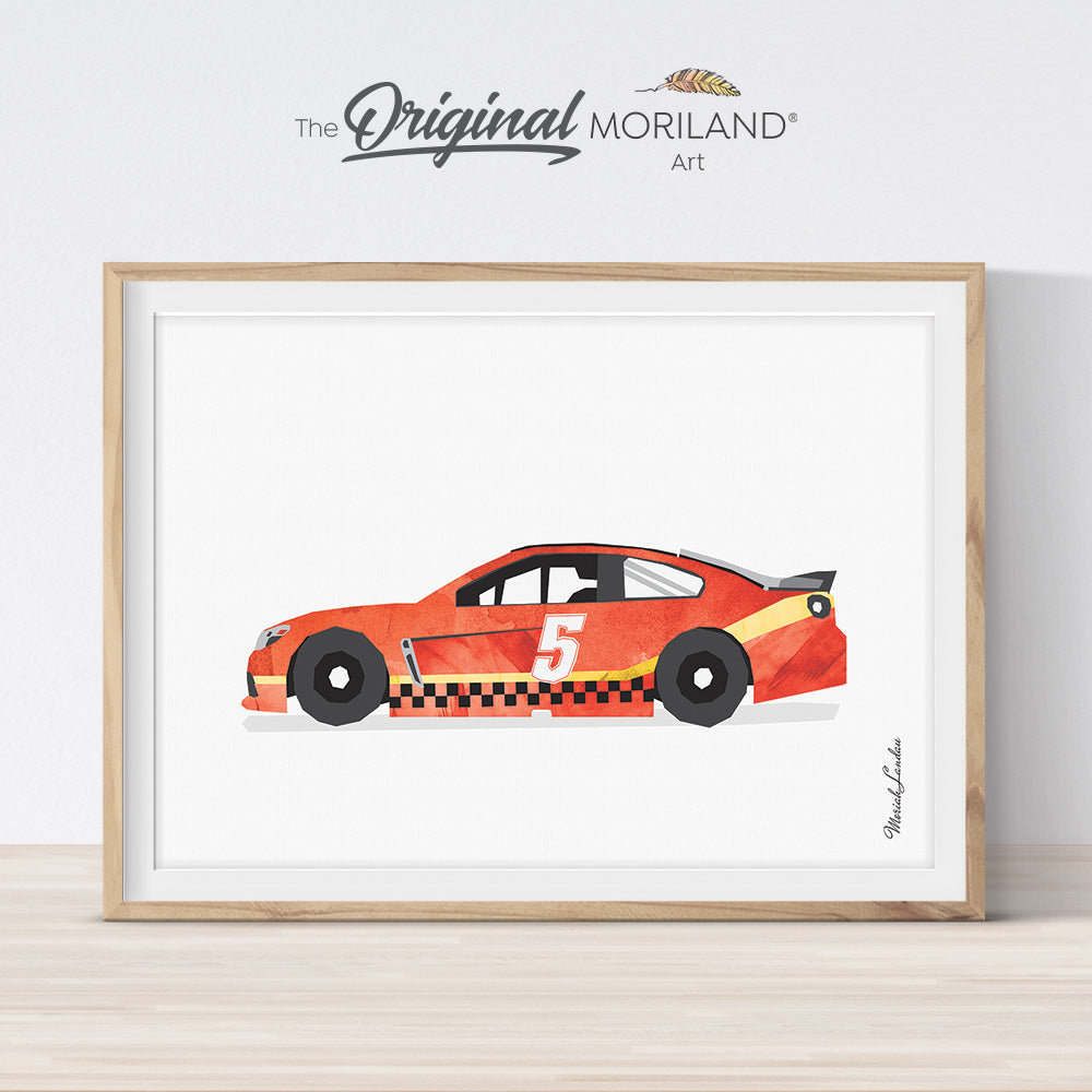 red race car watercolor print for boy bedroom decor