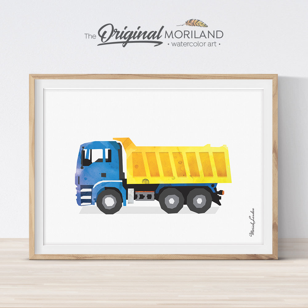 Dump Truck Art Print, Dump Truck Art, Construction Decor, Construction Truck Boys Bedroom, Truck Nursery, Transportation Decor, Printable