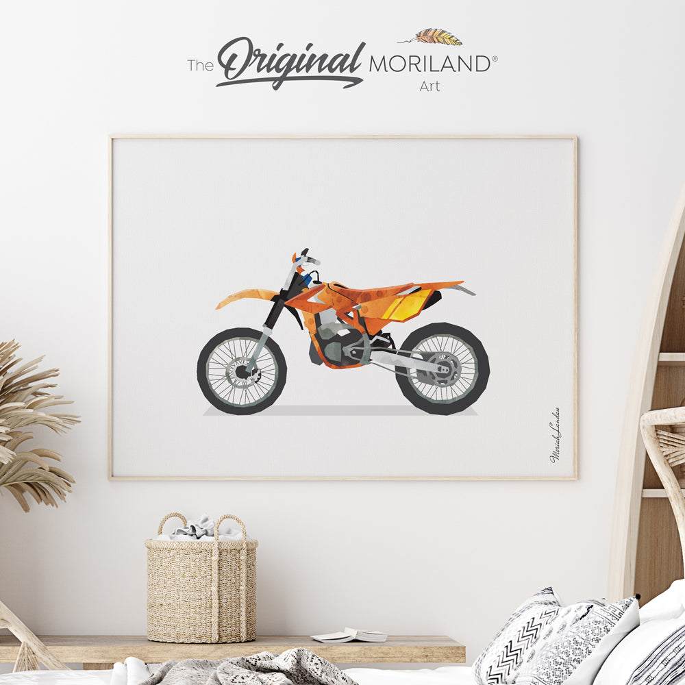 watercolor dirt bike drawing for boy room decor by MORILAND