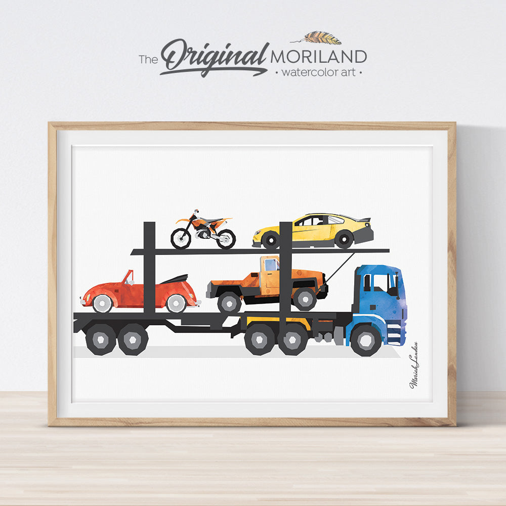 Car Carrier Truck Print, Transportation Wall Decor, Truck Birthday, Trucks Wall Decor, Prints for Boys Room, Toddler, Kids Truck Printable
