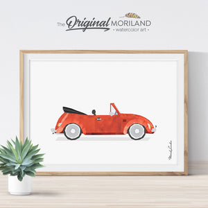 Classic Cabriolet Beetle Car Art for girls and boys room decor