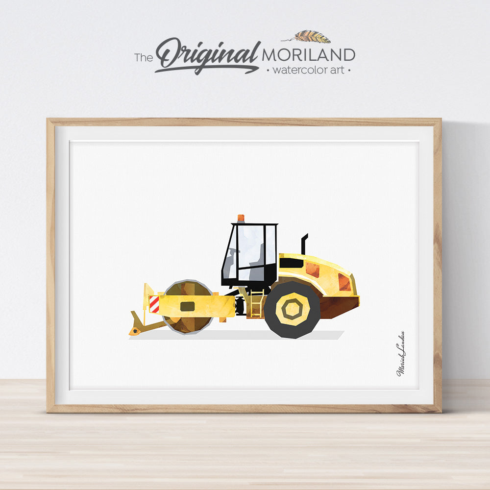 Road Roller Wall Art for Boys Room Decor