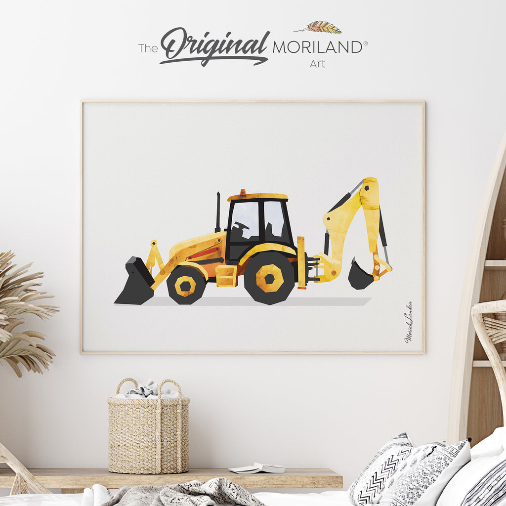 Digger Fine Art Print for Boy Room Decor