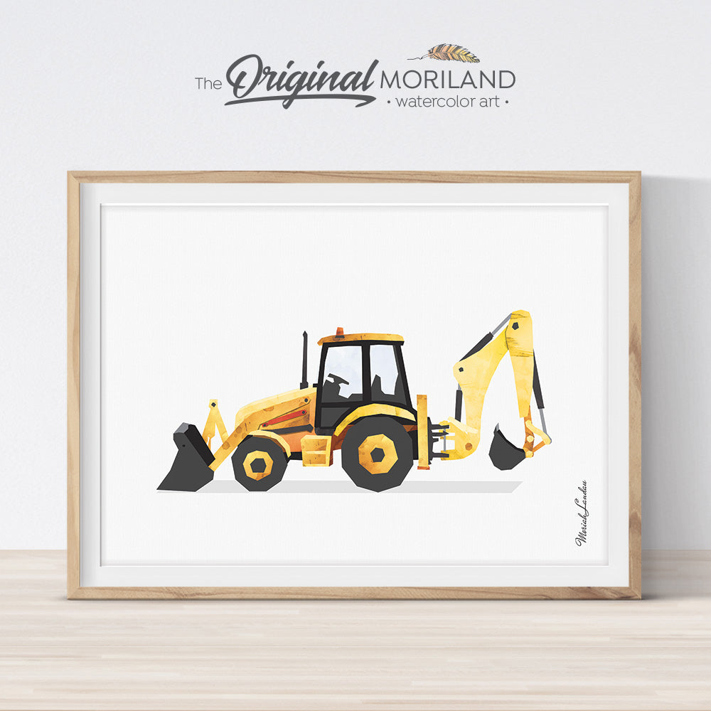 Backhoe digger print wall art for big boy room decor
