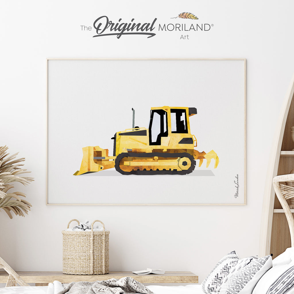 Bulldozer Fine Art Print for Boy Room Decor