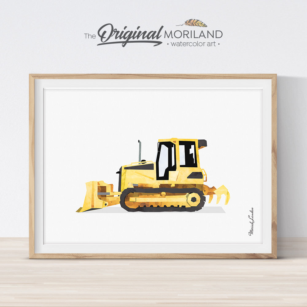 Crawler Bulldozer, Bulldozer Print, Construction Wall Art, Transportation, Construction Birthday Print, Printable, Toddler Boy Room Decor