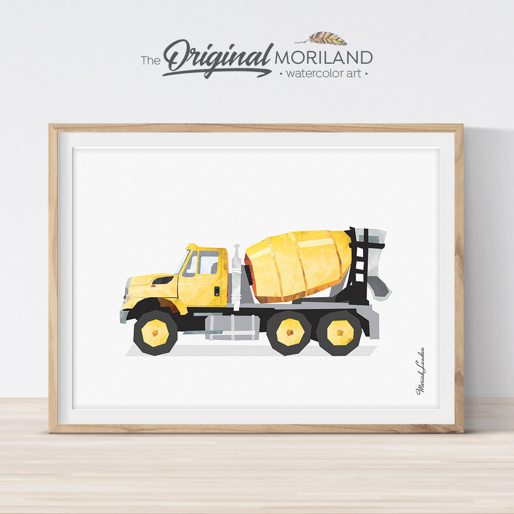 Yellow Cement Mixer Truck Printable Wall Art for Boys Bedroom Decor