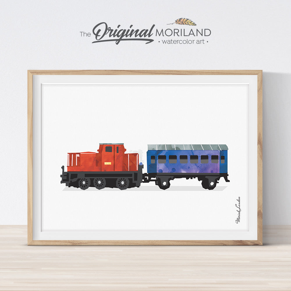 Train wall art print for boy room and nursery decor