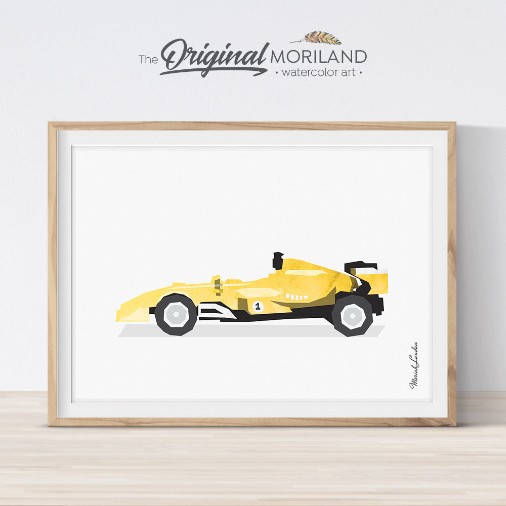 Yellow formula 1 Race Car Wall Art for Big Bog Room Decor