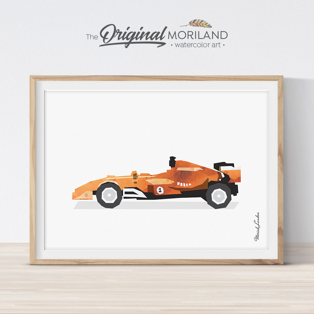 Orange formula 1 Race Car Wall Art for Big Bog Room Decor