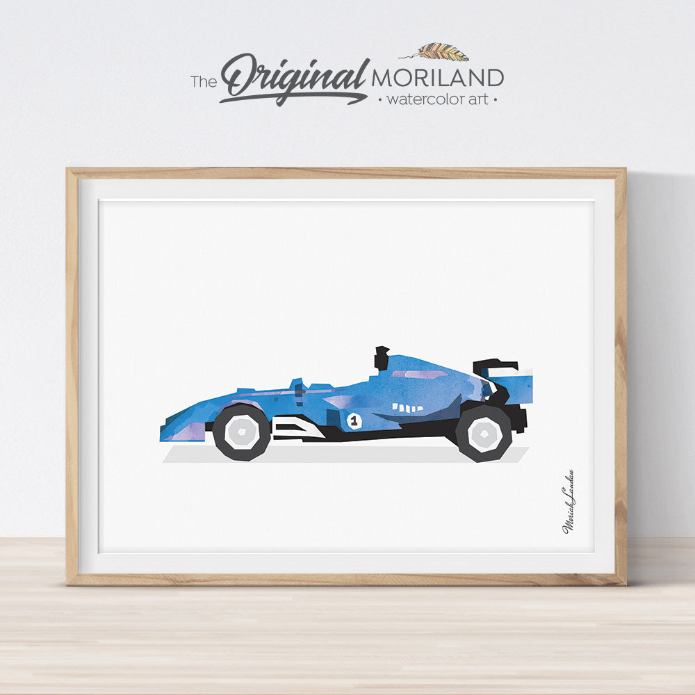 Blue formula 1 Race Car Wall Art for Big Bog Room Decor