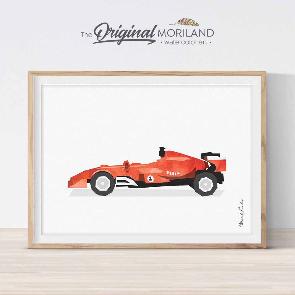 Red formula 1 Race Car Wall Art for Big Bog Room Decor