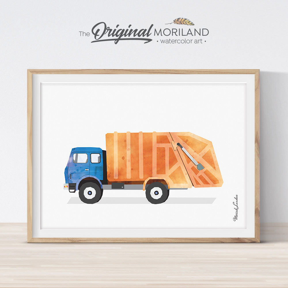 watercolor old garbage truck printable art for boy bedroom decor by MORILAND