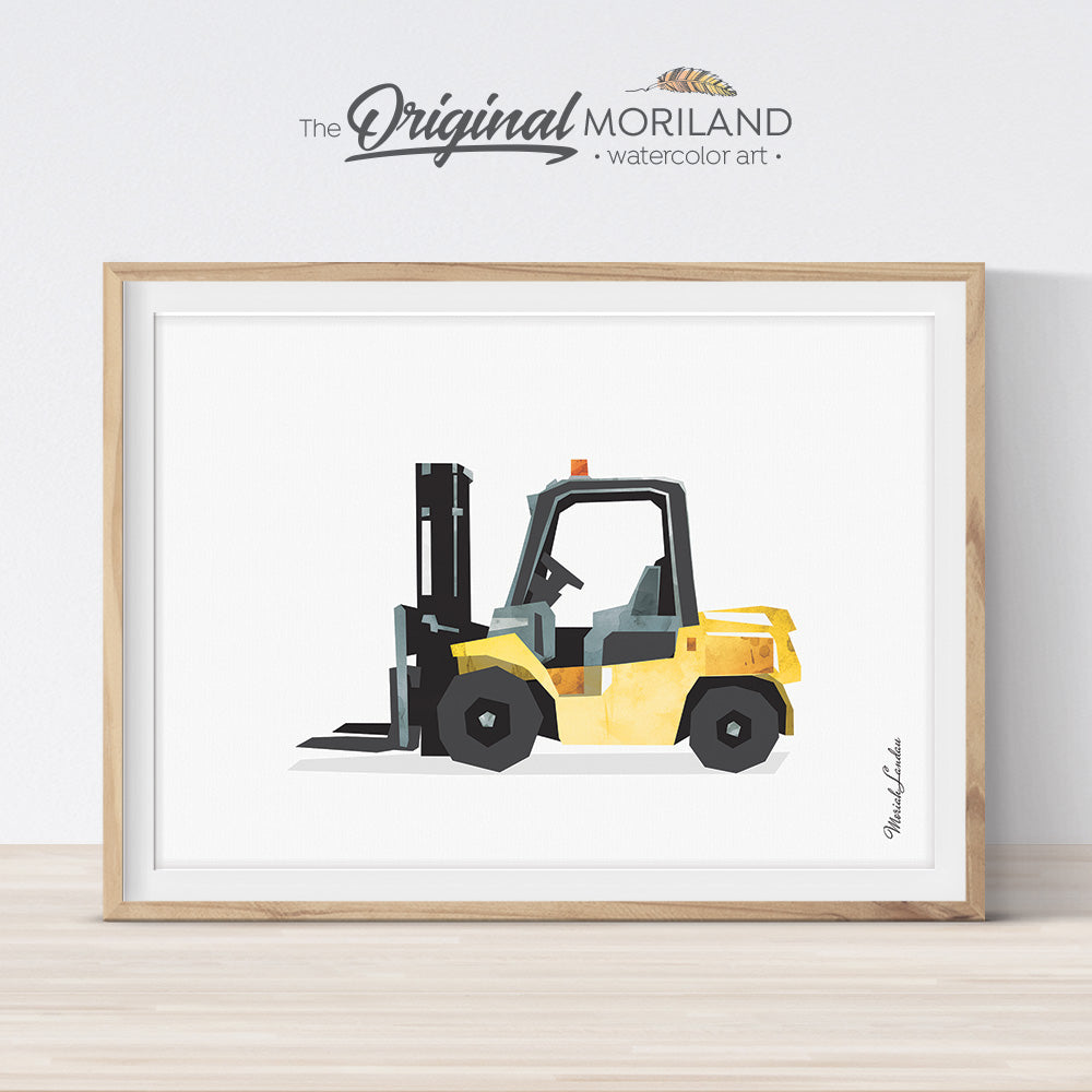 Forklift Construction Wall Art for Farm Theme Bedroom Decor