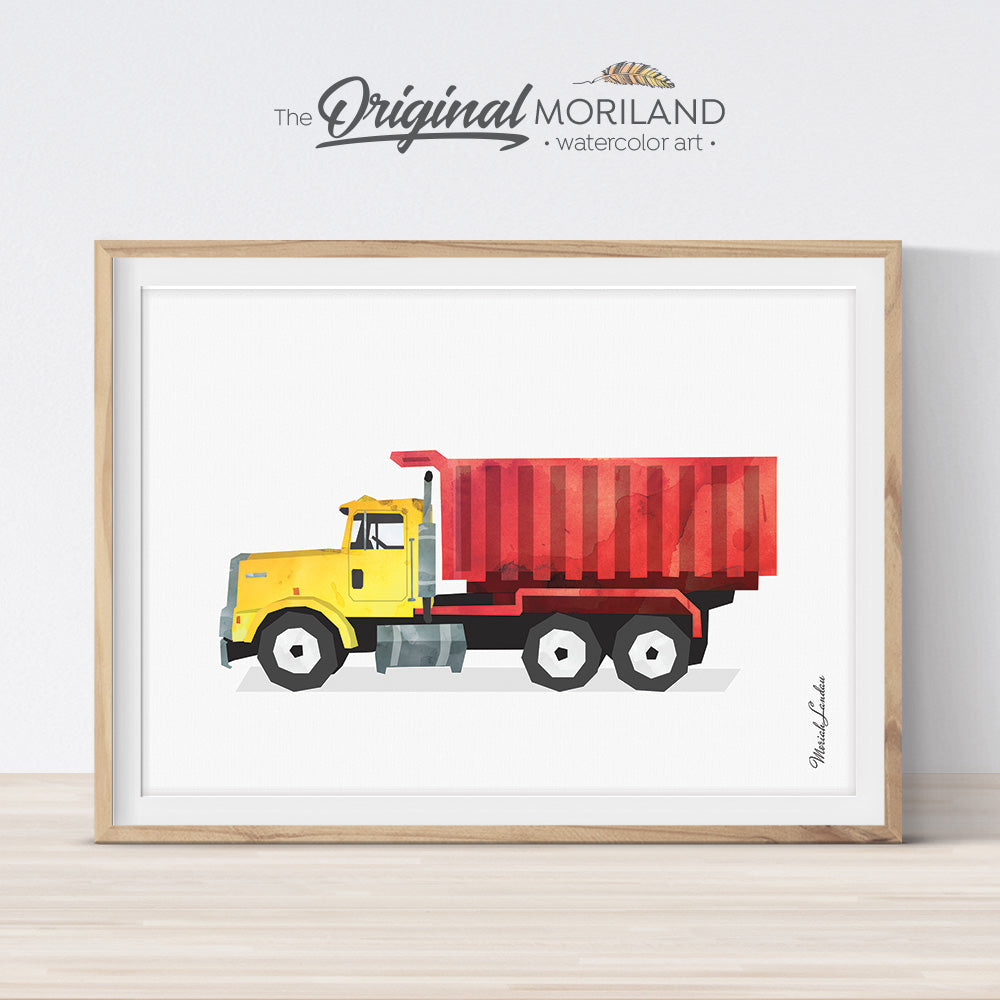Dump Truck Wall Art Print, for Playroom and Boy Bedroom Decor