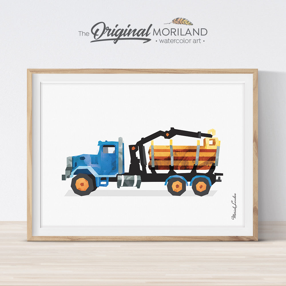 Timber Truck Wall Art print for boy bedroom decor