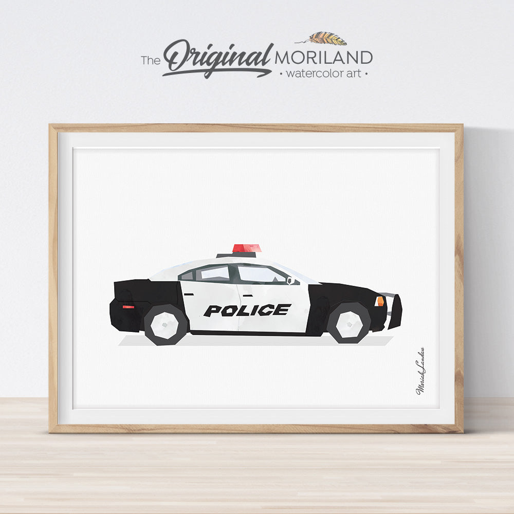 Police car wall art print for boy bedroom decor