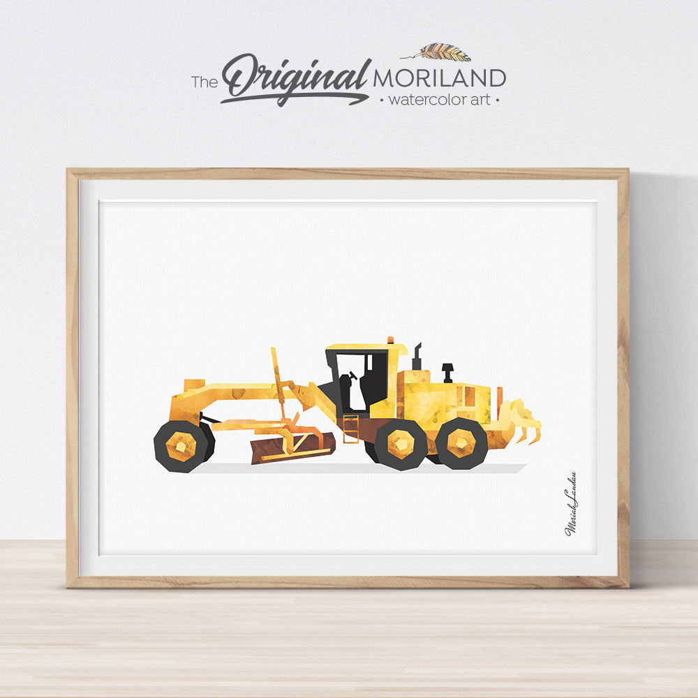 Grader watercolor wall art print for big boy room decor