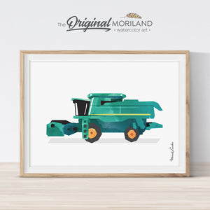 Combine Harvester Print, Transportation Wall Art, Tractor Combine, Tractor Birthday Party, Farmhouse Decor, Little Boy Room, Printable